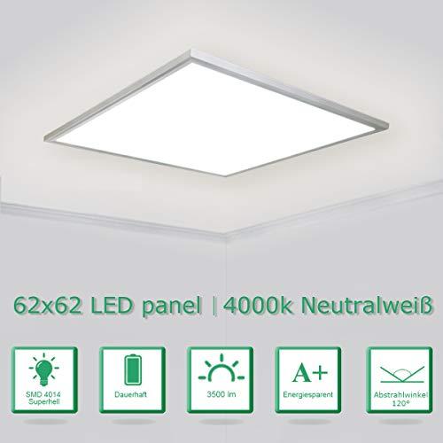 [PRO High Lumen]OUBO LED Panel 62x62cm Naturweiß / 36W / 5000lm / 4000K / Silberrahmen Lampe dünn SLIM Ultraslim Deckenleuchte Pendelleuchte Wandleuchte Einbauleuchten -