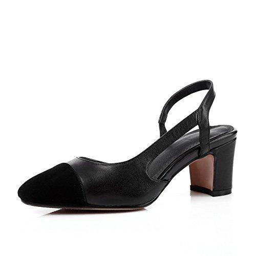 Adee filetage pour femme élastique Chaussures Pompes en cuir Noir - noir