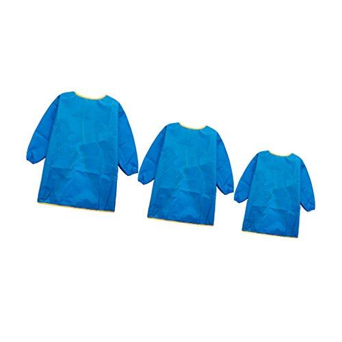 Sharplace 3 Stück Kinder Langarm Schürze Zeichnung Malerei Wasserdichte Kittel Blau (Langarm Zeichnung)