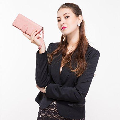 Geldbörse Damen Leder Rfid Geldbörse Brieftasche Lang Handy Geldbeutel Frauen Rosa - 2