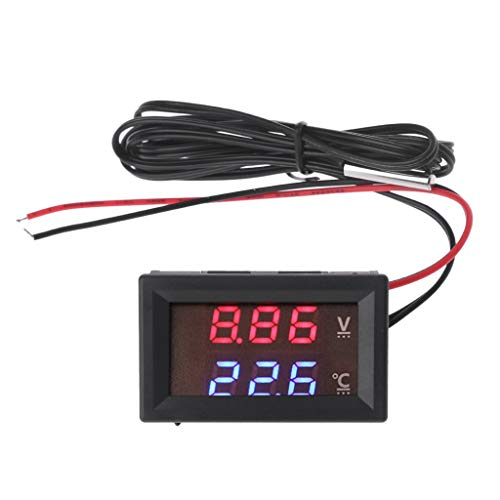 Thermometer 12V/24V LED Display Auto Spannung und Wassertemperatur Thermometer