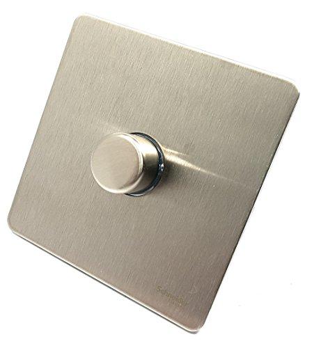 Assiette plate sans vis en acier inoxydable rotatif Variateur d'intensité 1gang–1voie–400W par Schneider Electric (Gu6411ss)