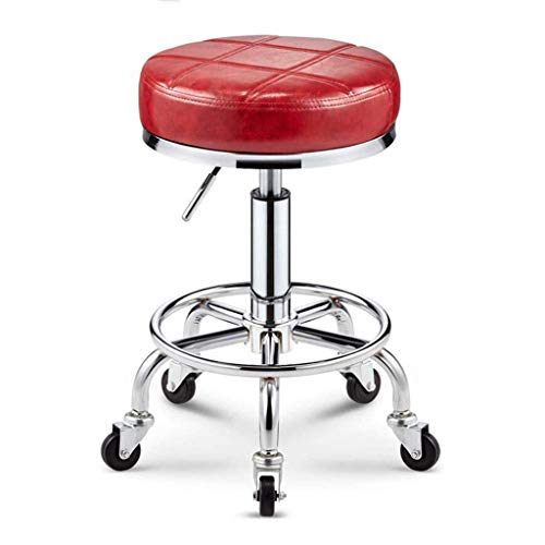 Massage-stuhl-serie (Massage Hocker Rollhocker Spa Hocker Verstellbarer Drehbarer Büroschreibtisch-hocker Mit Rädern Für Zuhause, Büro, Massage, Spa, Retro Barber Hocker,Red)