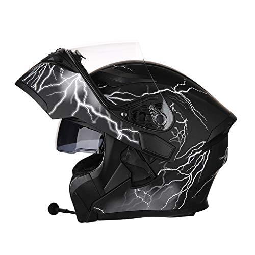 OUTO Aufdeckende Helm Motorrad Outdoor Riding Bluetooth Kopfhörer HD Anti-Fog-Spiegel Full Face Helm Männer Und Frauen Kühle Persönlichkeit (Farbe : Black Lightning, größe : M)