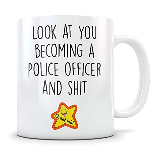 (Police Graduation Gifts - Law Enforcement Mug Congratulations Gift for Police Foundations Graduates - Funny Cop Gift Idea for School Students Becoming Police Officers - Academy Grads)
