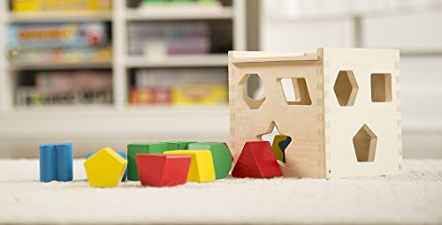 Image of Melissa & Doug Shape Sorting Cube - Classic Wooden Toy With 12 Shapes