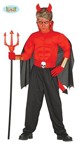 Guirca muskulöser Teufel mit Cape Halloween Kostüm für Kinder Halloweenkostüm Gr. 98-146, Größe:128/134