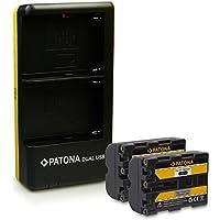 PATONA Dual Cargador + 2x Batería NP-FM500H para Sony DSLR-A200 A300 A350 A450 A500 A550 A560 A580 A700 A850 A900 ILCA-77M2 SLT-A57 A58 A65 A77 A99 con micro USB