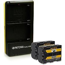 PATONA Dual Caricabatteria + 2x Batteria NP-FM500H per Sony DSLR-A200 A300 A350 A450 A500 A550 A560 A580 A700 A850 A900 ILCA-77M2 SLT-A57 A58 A65 A77 A99 con micro USB