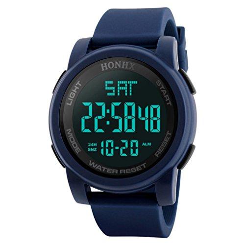 Reloj deportivo multifuncional militar para hombres, impermeable, diseño simple con números grandes en pantalla LCD digital, Reloj casual con cronómetro y fecha, correa de goma negra, Blue 2, Sport