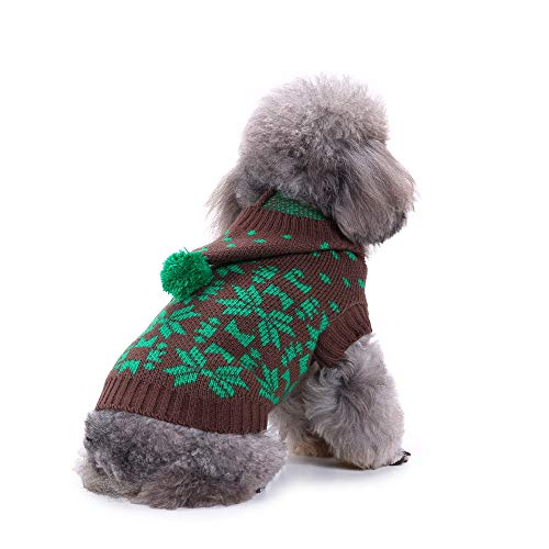 YCGG-Hunde Nette Rentier-Haustier-Hundeweihnachten Gestrickte Strickjacke-Welpen-Katze-Winter-Sweatshirt-Kleidungs-warme Strickwaren-Kapuzenpullis(XXL,Grün) (Rentier-strickjacke)