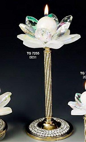 Decorazione casa candeliere portacandela grande fiore cristallo swarovski e acciaio dorato made in italy