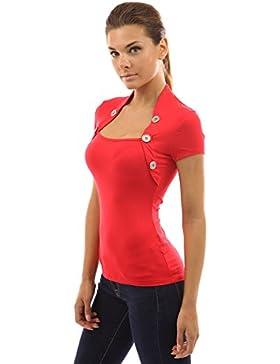 PattyBoutik Mujer estilo bolero adornado con botones de la blusa