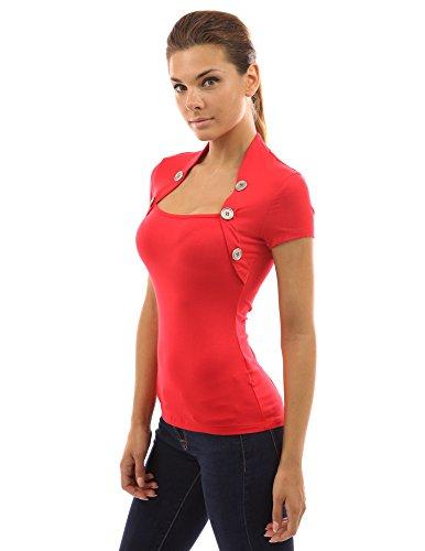 PattyBoutik femmes blouse en style boléro orné de boutons Rouge