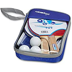 Relaxdays–10020137Tenis de Mesa Juego de 3estrellas con tenis de mesa chläger Red & pelota de tenis de mesa en bolsa de transporte HBT: aprox. 27x 17x 5cm Juego de tenis de mesa ping pong parte TT Juego de tenis de mesa Juego, Azul