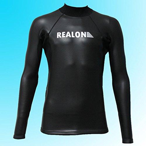 Realon Surfen Neoprenanzug 2 mm Smooth Skin Lange Ärmel Shirt Tauchanzug Top (Mittlere)