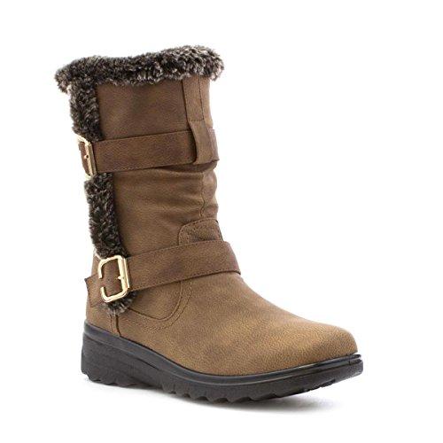 Cushion Walk Womens Tan Fur Trim Calf Boot - Size 4 UK...