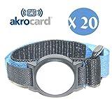akrocard Akrocard Armband Packung mit 20 Stück -  Technologie NFC 1K (ISO 14443 A/B), 13,56 MHz - blaues Nylon - wasserdicht