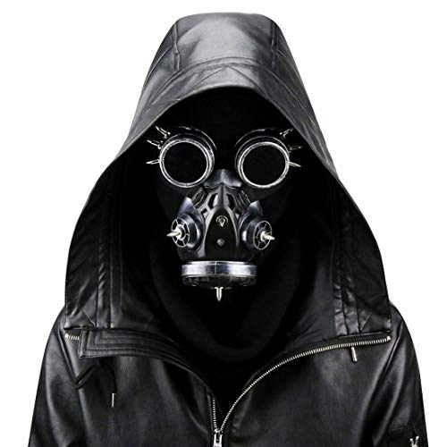 Maske Kostüm Krieger - Ysprings Biogefährdung Steampunk Gasmaske Brille Spikes Skelett Krieger Tod Maske Maskerade Cosplay Halloween Kostüm Requisiten (Color : Silver)