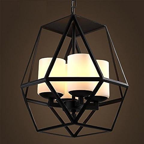 CLG-FLY minimalista di ferro lampadario lampadario di vetro in ferro battuto catena pendenti nero vetro smerigliato metallo lampadari d'epoca,42*40cm,acciaio al carbonio, vetro - Vaso Appeso Catena
