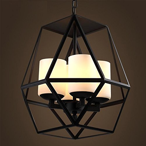 CLG-FLY minimalista di ferro lampadario lampadario di vetro in ferro battuto catena pendenti nero vetro smerigliato metallo lampadari d'epoca,42*40cm,acciaio al carbonio, vetro