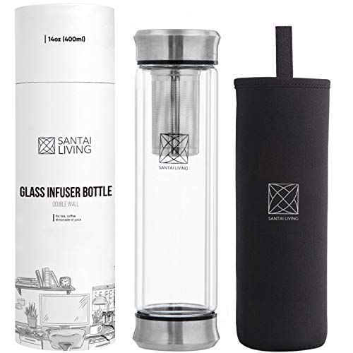 Santai Living Termo de Cristal Hermético 400 ml Funda Protectora | Botella de Vidrio Doble Cámara Aislante con Infusor para Fruta, Té o Café | Vaso Térmico de Cristal y Aluminio de Viaje libre de BPA