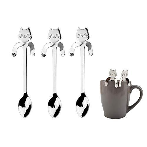 3 Stück Katze Kaffee Löffel,Edelstahl Kätzchen Hängen Design Löffel Kaffee Tee Löffel -