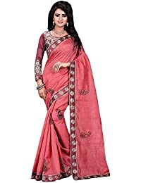 Clothfab Women's Bhagalpuri Silk New Collection Madhuri Pink Embroidered Saree | Sari With Blouse Piece (Pink-Colour)