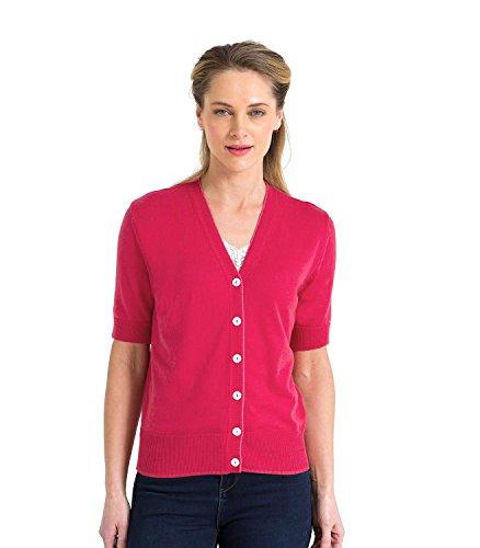 Wool Overs Kurzärmliger Cardigan aus Baumwolle-Seide für Damen Rich Rose, S (Seide Strickjacke Leichte)
