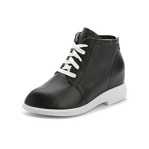 Damen Sneakers Blockabsatz Kurzschaft Schnürer Aufzug Winter Schnürhalbschuhe Schwarz
