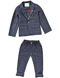 LaoZanA 2Pcs Abito da Ragazzi Completo Ragazzo Elegante Giacca E Pantaloni  Lunghi Grigio b608ce5ca0c