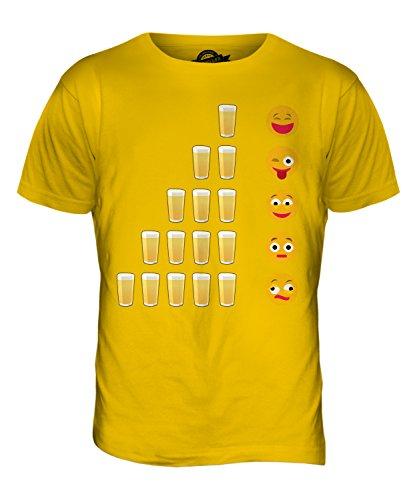 CandyMix Birra Emoji T-Shirt da Uomo Maglietta Giallo Scuro