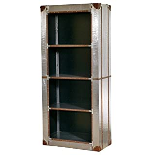 Asia Dragon Industrial style aluminium tall bookcase 4 shelves