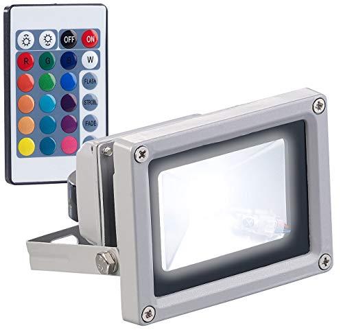 Luminea RGB Strahler: Wetterfester RGB-LED-Fluter mit Fernbedienung, 10 Watt, 800 lm, IP65 (LED Strahler blau) -