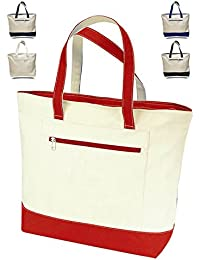 "1 , Navy : 18"" Stylish Canvas Zippered Tote Bag W/Zipper Front Pocket Pool Beach Shopping Travel Tote Bag Eco-Friendly..."