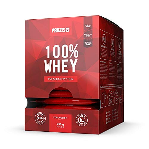 Prozis 10 x 100% Whey Premium Protein 25 g Erdbeere -