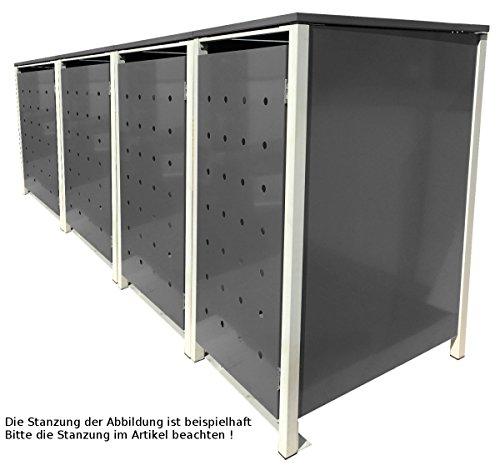 BBT@ | Hochwertige Mülltonnenbox für 4 Tonnen je 240 Liter mit Klappdeckel in Silber / Aus stabilem pulver-beschichtetem Metall / Stanzung 3 / In verschiedenen Farben sowie mit unterschiedlichen Blech-Stanzungen erhältlich / Mülltonnenverkleidung Müllboxen Müllcontainer