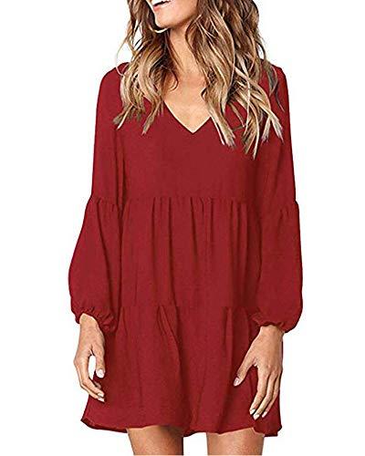 Donna V-Neck Manica Lunga Tunica Vestito Sciolto Casuale Vestito da Altalena Rosso XL