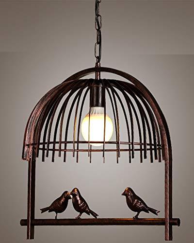 Kreative Kronleuchter Retro Industrielle Wind Vintage Pendellampe Schmiedeeisen Vogelkäfig Pendelleuchte Persönlichkeit Kleiner Vogel Einflammig Hängeleuchte für Esszimmer Hotel Café Loft Balkon Ø42cm