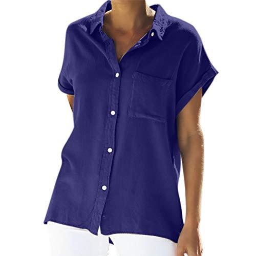 Zegeey Damen T-Shirt Oberteile Einfarbig Kurzarm Mit Tasche LäSsige Lose Blusen Tops Shirts Pullover Hemd(Blau,EU-44/CN-2XL) -