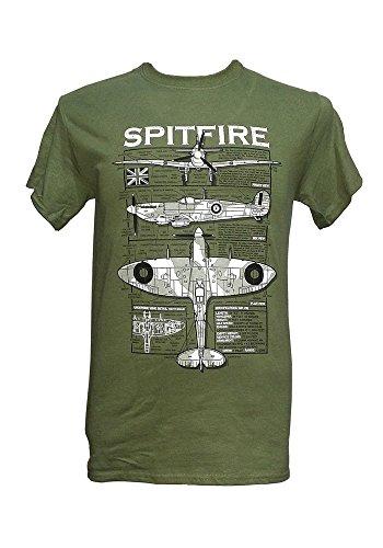 Spitfire Jagdflugzeug-Britischer Flugzeug/Militär-T-Shirt blueprint design, Grün - Olive Green, XL (T-shirt Militär Dog)