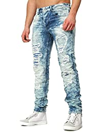Justing Herren Jeans PRATO Slim Fit Schnitt Stone Washed im Destroyed Look 213b48a0ab
