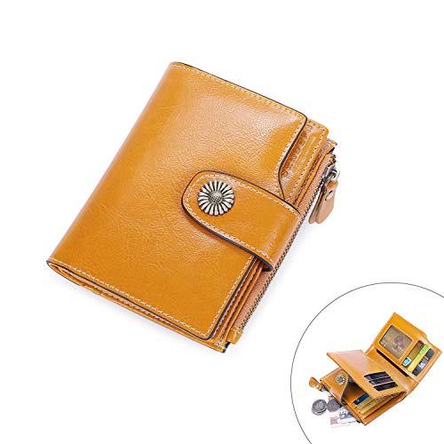 Vintage Damen Geldbörse Klein Portemonnaie Leder Frauen Geldbeutel mit Reißverschluss und RFID Schutz - ()