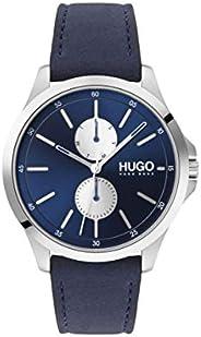 ساعة للرجال من هوغو بوس بمينا زرقاء وسوار جلدي ازرق 1530121