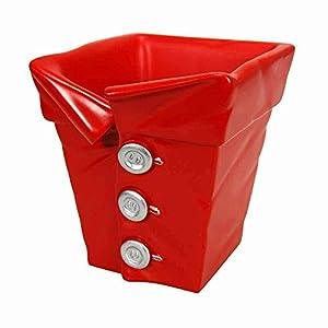 Pot soucoupe Cache-pot sbottonami en résine décorée rouge fabriqué en italie