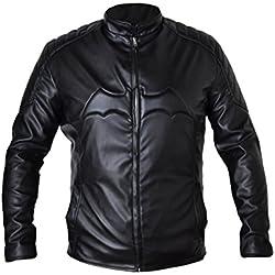 Batman chaqueta de negro bala piel sintética completa con logotipo en el pecho negro