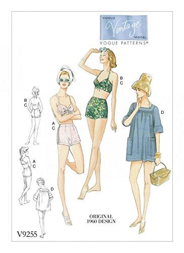 Vogue Damen Schnittmuster 92551960er Vintage Stil Bikinis und quadratisch Hals Coverup