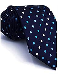 WZW Cravate Rétro Mignon Soirée Travail Décontracté Rayonne.Homme Points Polka.Bleu Toutes les Saisons