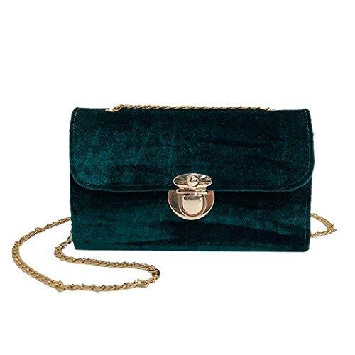 Grün Large Tote (Damen Elegant Samt Schultertasche, Manadlian Umhängetasche Frauen Retro Gold Samt Tasche Schultertasche Messenger Bags Tote Handtasche (Grün))