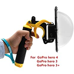 Puerto domo para GoPro Hero 4 Hero 3 3+, carcasa GoPro Dome Port carcasa sumergible para agua para GoPro Accesorio con pistola para gatillo y agarre flotante Capucha para fotografía (For GoPro hero 4 3 3+)